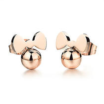 Rose Gold Earrings Stainless Steel -- a Pair -- Fashion Stud 10mm Ge295 Photo