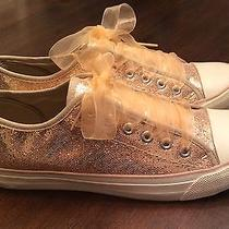 Rose Gold Glitter Sneakers Tulle Laces-Perfect Fun Bridal Shoes Chucks Fun Photo