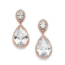 Rose Gold Halo Teardrop Pave Cz Bridal Dangle Earrings Wedding Prom Designer Photo