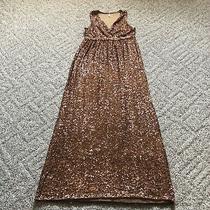 Rose Gold Pink Blush Maternity X-Large Sequined Maxi Dress Photo