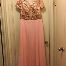 Rose Gold Pink Bridesmaid Dress Sequins Chiffon New Custom Size 18w Photo
