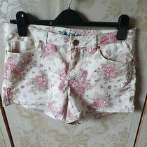 Rose Gold Pink White Stretch Floral Shorts Photo