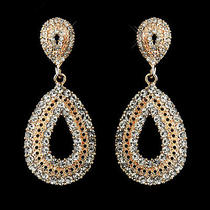 Rose Gold Plated Clear Rhinestone Earrings 1056  Photo