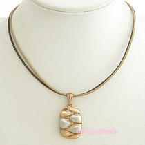 Rose Gold Silver Tone Cutout Geometric Pendant Synthetic Leather Necklace N1114 Photo