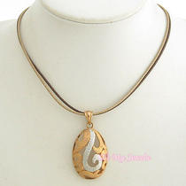 Rose Gold Silver Tone Cutout Pendant Synthetic Leather Necklace N1113 Photo