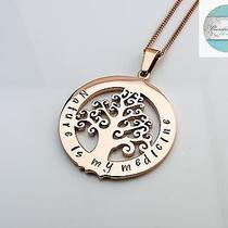 Rose Gold Tree of Life Names Family Pendant Necklace. Personalised Necklace Photo