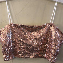 Rose Gold Womens Sequin Tank Tube Top Size Small Photo