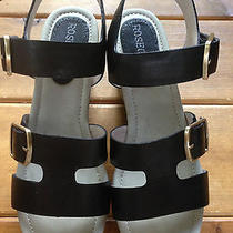 Rosegold 38.5 Aa Black Leather Sandals Platforms Photo