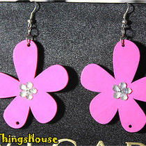 Rosy Handmade Hot Girl Big Romantic Shining Wood Flower Woman Earrings Ear Drop Photo