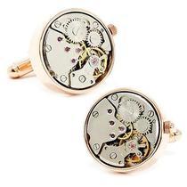 Round 20mm Rose Gold Watch Movement Cufflinks Photo