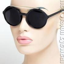 Round Oversized Sunglasses Vintage Style Jackie O Super Dark Gold Black K536 Photo