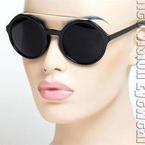 Round Oversized Sunglasses Vintage Style Jackie O Super Dark Gold Black K536 Photo