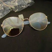 Round Rose Gold Wire Twist Tinted Blue Arm Sunglasses (M2135-2136) Photo