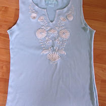 Roxie B. Embroidered Aqua Tank - Size Medium Photo