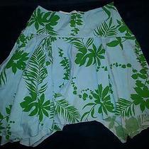 Roxy 7 Women's Flowy Assymetrical Skirt - Green & Blue Cotton Floral Pattern Photo