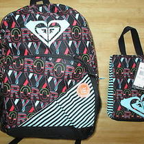 Roxy Backpack Book Bag Lunch Box Tote Set Nwt Black Pink Multicolor Print Photo