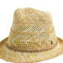 Roxy Big Swell Straw Hat Braided Leather White Mustard Tan Fedora Photo