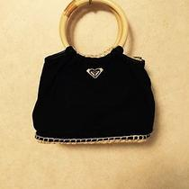 Roxy Black Purse Hand Bag Cute Wood Rope Details Photo