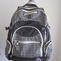 Roxy Black & White Checkered Laptop Backpack Bag W/pink Logo Photo