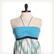 Roxy Blue Sleeveless Halter Top Sz Xs Plaid Photo