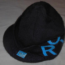 Roxy Brand Knit Billed Newsboy Winter Cabbie Hat Womans Brown & Blue Color Nice Photo