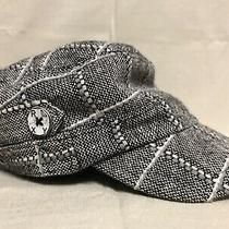 Roxy Brand Newsboy Cadet Style Cap Hat Gray Black White Plaid New Without Tags Photo