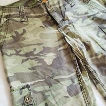 Roxy Camo Green Flare Pants W/ Cargo Pockets Size Juniors 5  Inseam 32