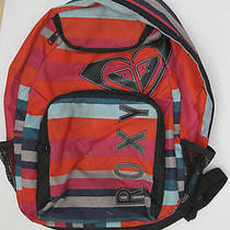 Roxy Canvas Backback Bright Colors Stripes Good Used Shape All Zippers Great Photo