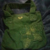 Roxy Corduroy Square Small Tote Purse Shoulder Bag Green Photo