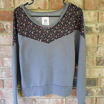 Roxy Cotton Blend Gray & Floral Sweatshirt Sweater Sz Small Photo