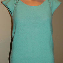 Roxy Crocheted Light Sweater Aqua Nice Detailed Design Medium Work Casual Photo