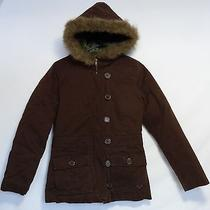 Roxy Davis Faux Fur Lined Hooded Jacket Coat Brown Quilted Interior Womens S Euc Photo