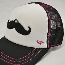 Roxy Dig This Trucker Mustache Staches Adjustable  Hat Cap White Pink New  Photo
