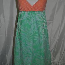 Roxy Dress Juniors M Orange Green  100% Cotton Overlay 56 % Cotton 45% Polyester Photo