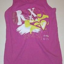 Roxy Fun in the Sun Pink Graphic Ribbed Tank Top Girls Size L Large Photo