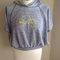 Roxy Girl Grey Gray Hooded Sweatshirt Hoodie Open Sides Sleeves Bike Bicycle L Photo