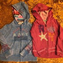 Roxy Girl Teenie Wahine Zippered Hoodie Sweatshirts Blue and Berry Size 3 (X2) Photo