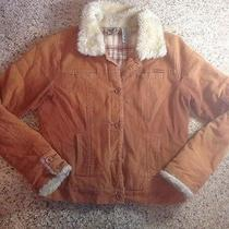 Roxy Girls Gold Brown Lined Winter Coat Faux Fur Collar Size L Ked Photo