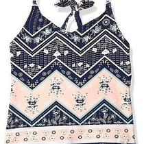 Roxy Girls Swimwear Blue Size 14 Tankini Top Floral Print Chevron 32- 129 Photo