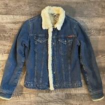 Roxy Jeans Womens Blue Denim Jean Jacket Fur Collar Sz L Euc Photo