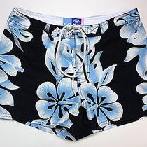 Roxy Jr Women's Board Shorts Swim Beach 5 Navy Blue White Floral Print Photo