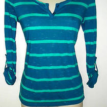 Roxy Juniors Size Xs Blue & Teal Striped Henley 3/4 Sleeves Shirt Top Photo