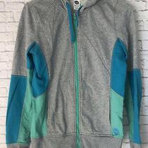 Roxy Ladies Hoodie Color Block Sweatshirt Sz S Teal Blue Green Mint Heather Zip  Photo