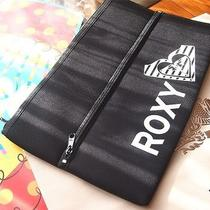Roxy Large Cosmetic Makeup Bag Storage Pouch Black / Orange New W/tags Photo