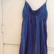 Roxy Lined Blue Colorful Embroidered Cotton v-Neck Crossover Sun Dress M Medium Photo
