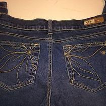 Roxy Medium Wash Wide Leg Juniors 5 Short Jeans W/ Flower Stitched Pockets Photo