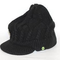 Roxy Melding Visor Beanie Hat Womens Black Chunky Cable Knit Cap New Nwt Osfm Photo