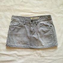 Roxy Mini Skirt Gray Denim With Heart Logo Size 3 Photo