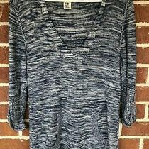 Roxy Navy and White 3/4 Sleeve Lightweight Hoodie Sz Large Photo