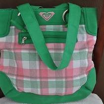 Roxy New Large Pink Green & White Plaid Cotton Tote Handbag Purse Photo